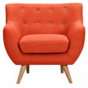 Sillón de tela SERTI - Naranja sanguina con botones multicolores