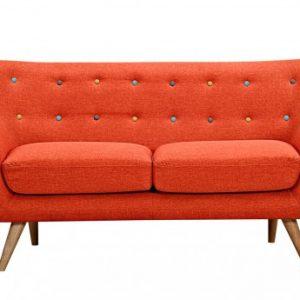 Sofá 2 plazas de tela SERTI - Naranja sanguina con botones multicolores