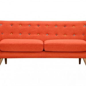 Sofá 3 plazas de tela SERTI - Naranja sanguina con botones multicolores