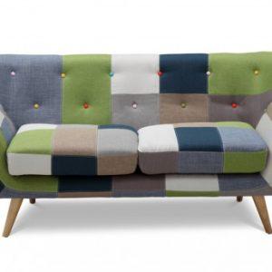 Sofá 2 plazas de tela Patchwork SERTI - Tonos verde/azul