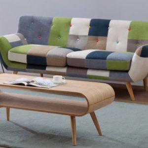 Sofá 3 plazas de tela Patchwork SERTI -Tonos verde/azul
