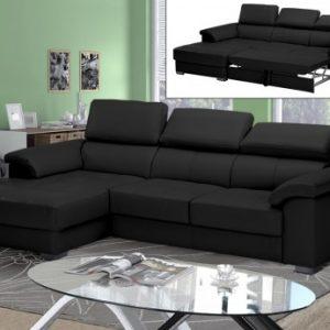 Sofá cama rinconero de piel de lujo EXPERIENCIA - Negro - Ángulo izquierdo