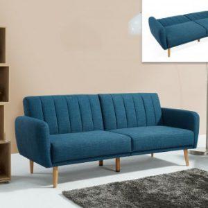 Sofá cama 3 plazas de tela VENLO - Azul