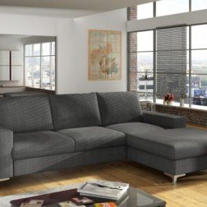 Sofá cama rinconero de tela CHONA - Gris antracita - Ángulo derecho