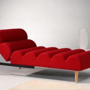 Chaise longue cama de tela CIVAL - Rojo
