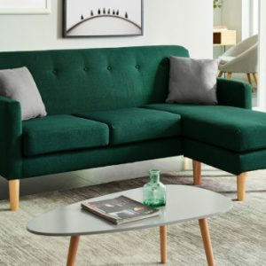 Sofá rinconero de tela reversible AUMA - Verde