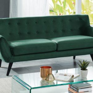 Sofá de 3 plazas de terciopelo SERTI - Verde
