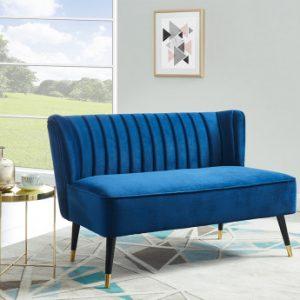 Sofá de 2 plazas de terciopelo PRISO - Azul noche