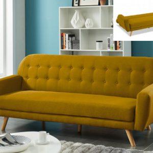 Sofá-cama de 3 plazas de tela LELIO - Ocre