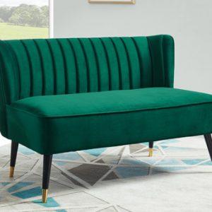 Sofá de 2 plazas de terciopelo PRISO - Verde