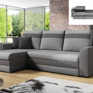 Sofá-cama rinconero y reversible GIANY  de tela - Gris claro con bandas antracita