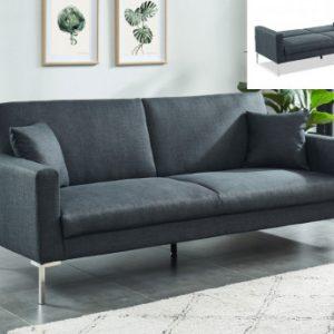 Sofá cama 3 plazas de tela MUNIO - Antracita