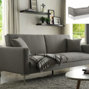 Sofá cama 3 plazas de tela MUNIO - Gris claro