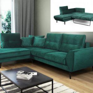 Sofá-cama rinconero de tela BANOE - Verde - Ángulo izquierdo