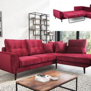 Sofá-cama rinconero de tela BANOE - Rojo - Ángulo derecho