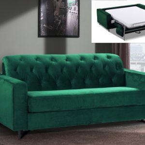 Sofá cama de terciopelo de 3 plazas con apertura italiana SHERIDAN - Verde pino