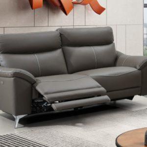 Sofá de 3 plazas relax eléctrico de piel de becerro METRONOMY - Gris arenoso