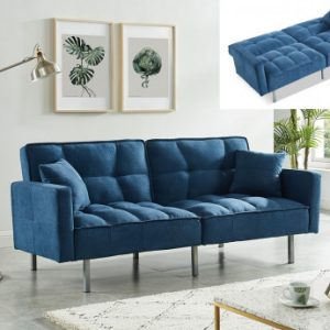 Sofá cama de 3 plazas de tela MINEY - Azul