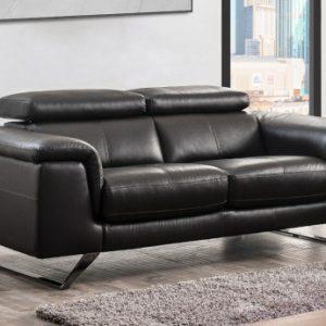 Sofá de 2 plazas de piel con reposacabezas BREYT - Marrón