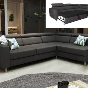 Sofá cama rinconera reversible de tela COLIAS - Antracita