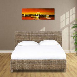 Estructura de cama SAVANA II - 160x200 cm - Mimbre trenzado y madera de mango