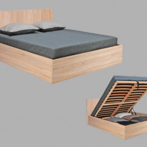 Cama con canapé abatible ELPHEGE - 160x200 cm - Color roble