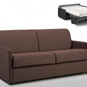 Sofá cama italiano 3 plazas de tela CALIFE - Chocolate - Cama 140 cm - Colchón 18cm