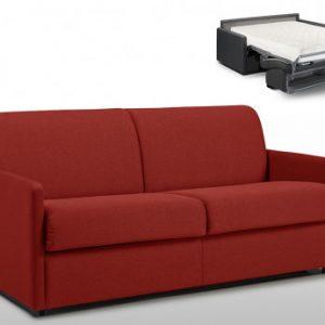 Sofá cama italiano 3 plazas de tela CALIFE - Rojo - Cama 140 cm - Colchón 18cm